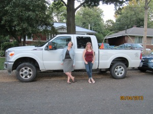 For a little perspective, here is Michelle and myself in front of the truck.  It's a big truck.