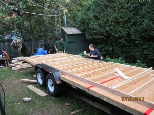 Laying out the framing for the wall.