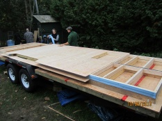 Two walls on the trailer. The end sections of the walls weren't sheathed so that the sheathing could go over the end walls as well.