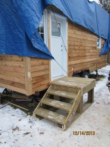 My Stairs!  They are made from the lumber removed from the trailer.