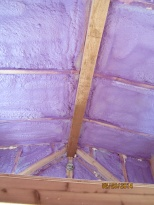 You can see the difference in colour between the sanded and un-section of the ridge beam.