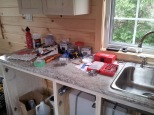 Kitchen counter already in use.
